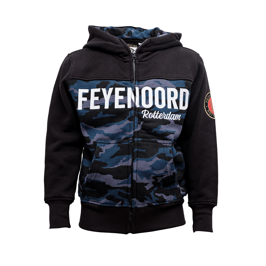 Feyenoord Hooded Sweater Full Zip Camo, Boys,17/18