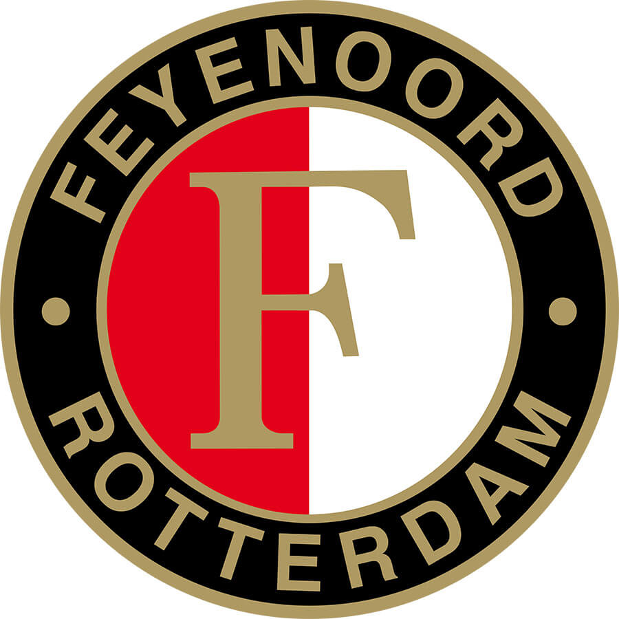 Feyenoord T-Shirt Text Allover, zwart/wit, Heren Voorkant Model